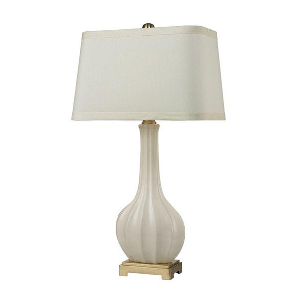 Dimond Fluted Ceramic White Glaze Table Lamp