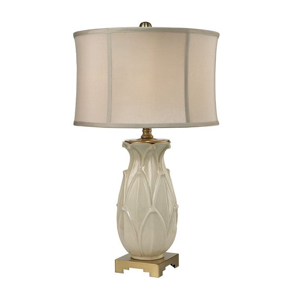 Shop Dimond Ceramic Leaf Cream Crackle Antique Brass Table Lamp On Sale Free Shipping Today