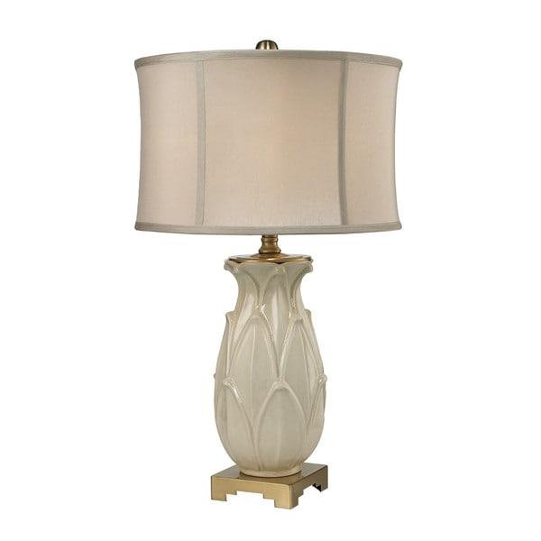 Dimond Ceramic Leaf Cream Crackle Antique Brass Table Lamp