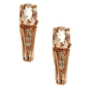 Anika and August 14k Rose Gold Morganite and Diamond Accent Earrings