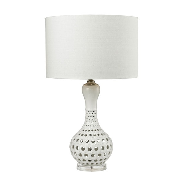 Dimond Open Work Gloss White Ceramic Table Lamp