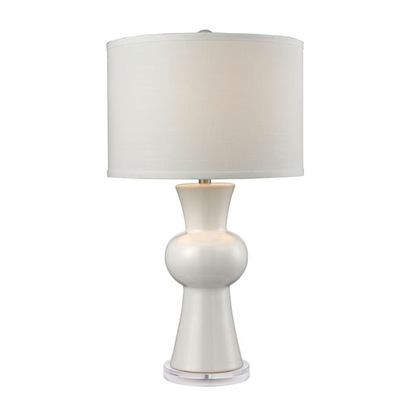 Dimond White Ceramic Textured White Linen Hardback Shade Table Lamp