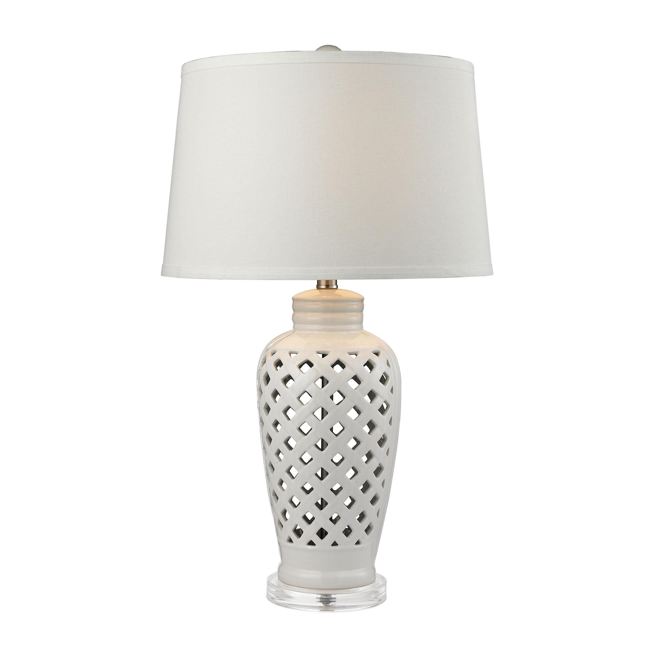 Ceramic Silver Lattice Base Table Lamp Reading Light Cotton Lampshades LED Bulb