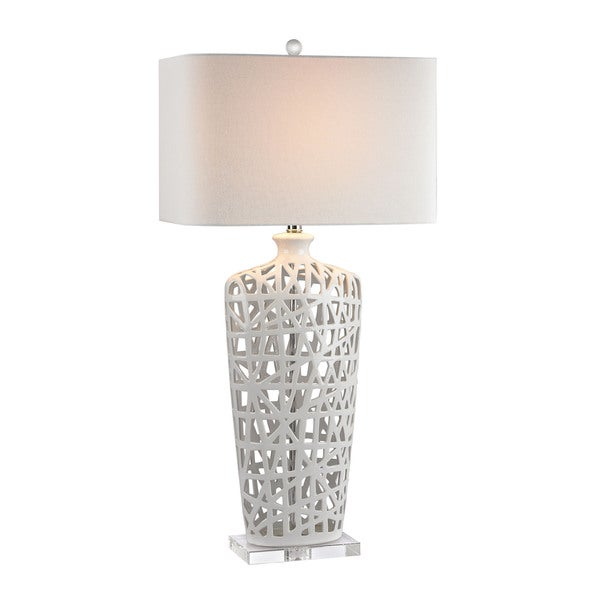 Dimond Ceramic Gloss White Crystal Table Lamp