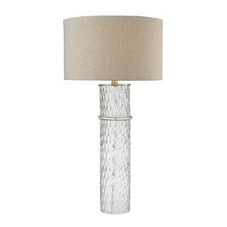 Dimond Two Tier Glass Grey Linen Shade Table Lamp