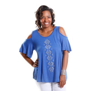 Hadari Women's Contemporary Plus Size Cold Shoulder Tee with St