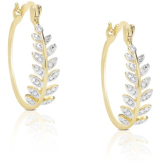 Finesque Sterling Silver Diamond Accent Leaf Hoop Earrings
