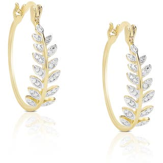 Finesque Sterling Silver Diamond Accent Leaf Hoop Earrings|https://ak1.ostkcdn.com/images/products/10318565/P17429908.jpg?impolicy=medium