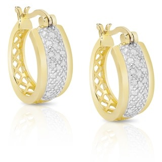 Finesque Sterling Silver or Gold Over Silver 1/4ct TDW Diamond Hoop Earrings (I-J, I2-I3)
