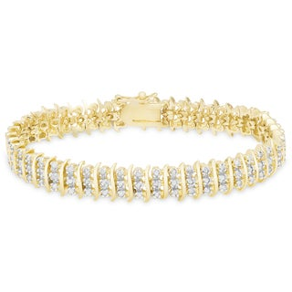 "Finesque Gold Overlay 1ct TDW Diamond ""S"" Link Bracelet"