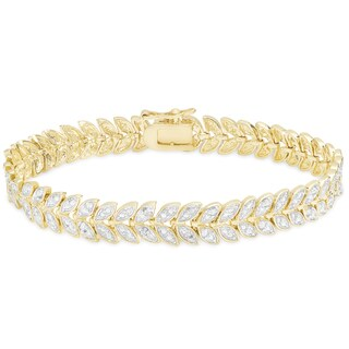 Finesque Gold Overlay 1 4ct Tdw Diamond Leaf Bracelet I J I2 I3 On Free Shipping Today 10318579