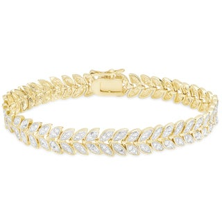Finesque Gold Overlay 1/4ct TDW Diamond Leaf Bracelet (I-J, I2-I3)