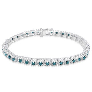 Finesque Sterling Silver 3 4/5ct TDW Blue Diamond Tennis Bracelet (I2-I3)