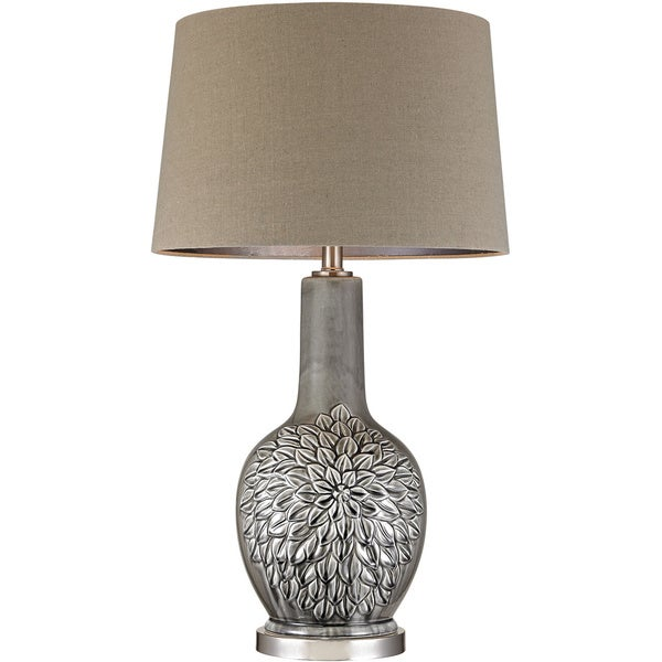 Dimond Grey Glazed Floral Ceramic Lamp