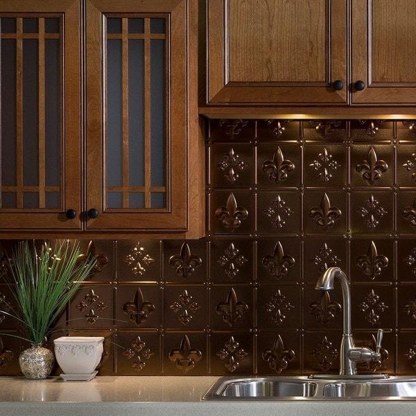 Kitchen Backsplash Kit: Shop Fasade Fleur De Lis Oil Rubbed Bronze 18-square Foot