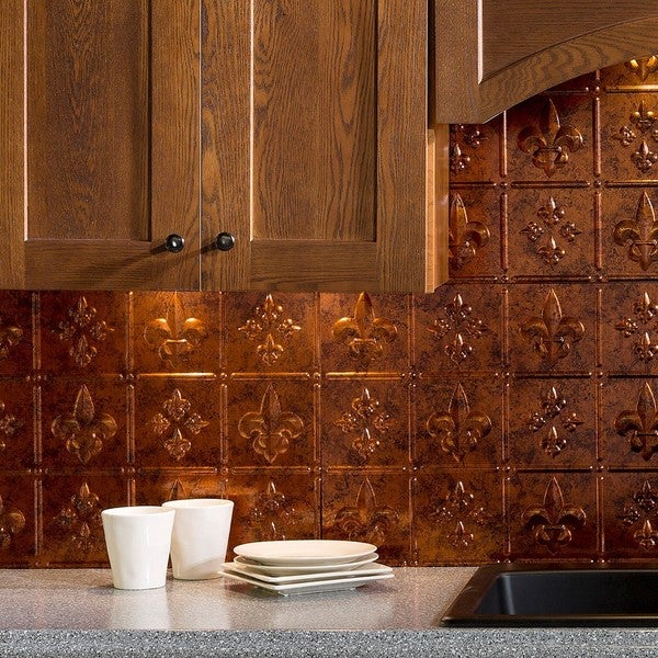 fasade fleur de lis moonstone copper 18 square foot backsplash kit