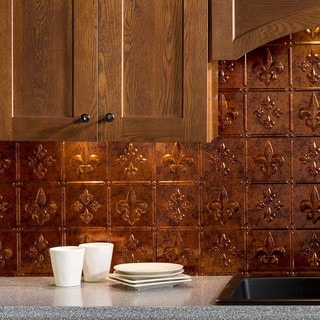 Fasade Fleur de Lis Moonstone Copper 18-square Foot Backsplash Kit