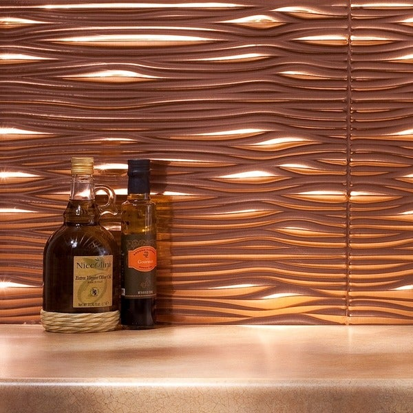 fasade waves polished copper 18 square foot backsplash kit