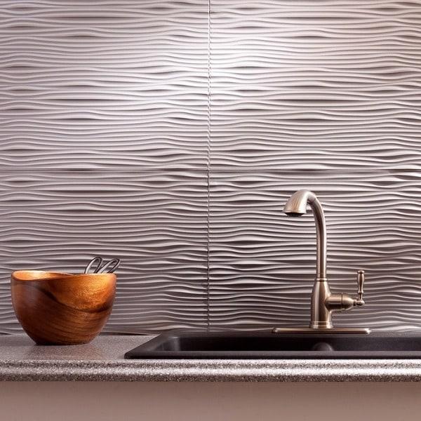 Shop Fasade Waves Argent Silver 18 Square Foot Backsplash