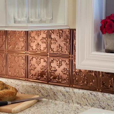 Fasade Traditional Style #10 Polished Copper 18-square Foot Backsplash Kit