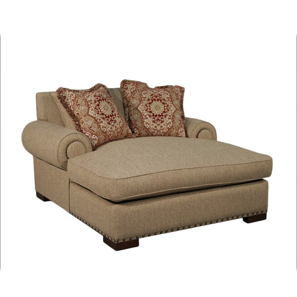 Claire Beige Nail Trim 2-arm Wide Chaise Lounger  sc 1 st  Overstock : 2 arm chaise - Sectionals, Sofas & Couches