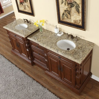 Silkroad Exclusive 90-inch Venetian Gold Granite Stone Top Bathroom Double Sink Modular Vanity