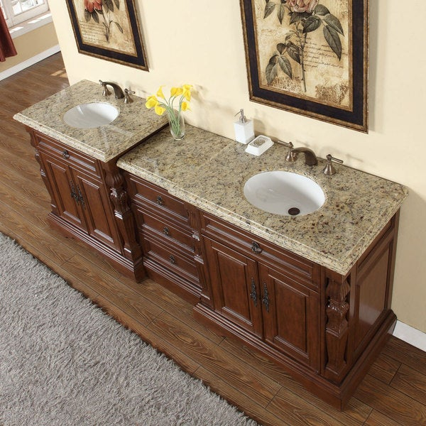 Silkroad Exclusive 90 Inch Venetian Gold Granite Stone Top Bathroom Double Sink Modular Vanity