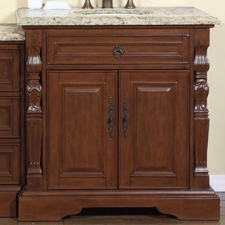 Silkroad Exclusive 55.5-inch Venetian Gold Granite Stone Top Bathroom Single Sink Modular Vanity