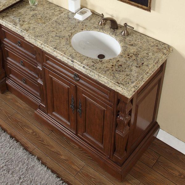 Silkroad Exclusive 55 5 Inch Venetian Gold Granite Stone Top Bathroom Single Sink Modular Vanity