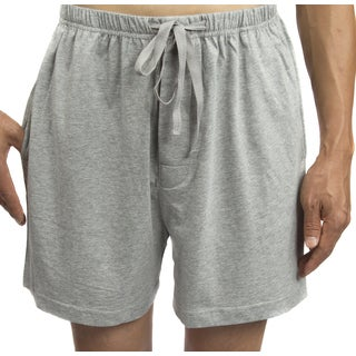 Leisureland Men's Solid Jersey Cotton Knit Pajama Shorts Boxer