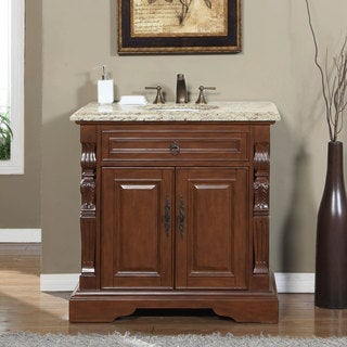 Silkroad Exclusive 36-inch Venetian Gold Granite Stone Top Bathroom Single Sink Vanity