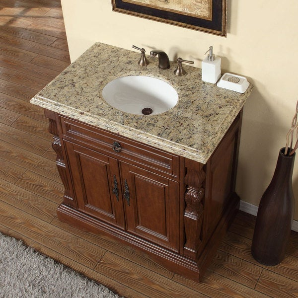 72 bathroom vanity cabinet only - Silkroad Exclusive 36 Inch Venetian Gold Granite Stone Top