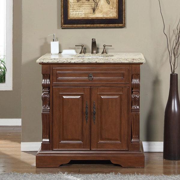 Silkroad Exclusive 36 Inch Venetian Gold Granite Stone Top Bathroom Single Sink Vanity