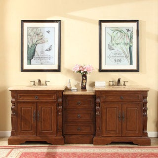 Silkroad Exclusive 90-inch Travertine Stone Top Bathroom Double Sink Modular Vanity