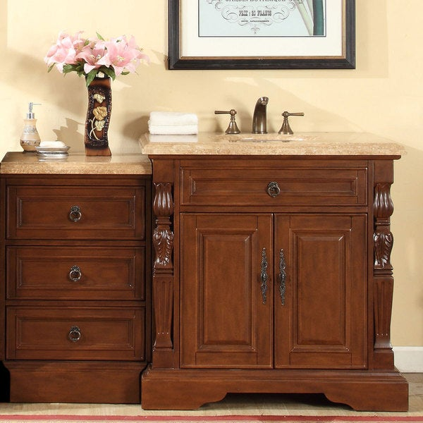 silkroad exclusive 55 5 inch travertine stone top bathroom single sink modular vanity free. Black Bedroom Furniture Sets. Home Design Ideas