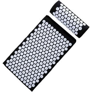 Sivan Health and Fitness Deluxe Black Acupressure Mat & Pillow Combo Set