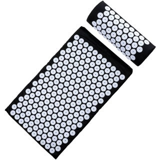 Deluxe Black Acupressure Mat and Pillow Combo Set