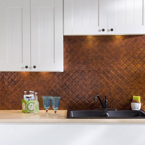 fasade quilted moonstone copper 18 square foot backsplash kit free