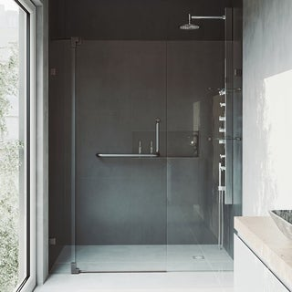 VIGO Pirouette 66-inch Frameless Shower Door 3/8 inches Clear Glass/Antique Rubbed Bronze Hardware