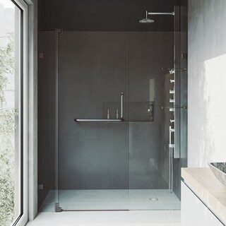 VIGO Pirouette 60-inch Frameless Shower Door .375-in. Clear Glass/Antique Rubbed Bronze Hardware