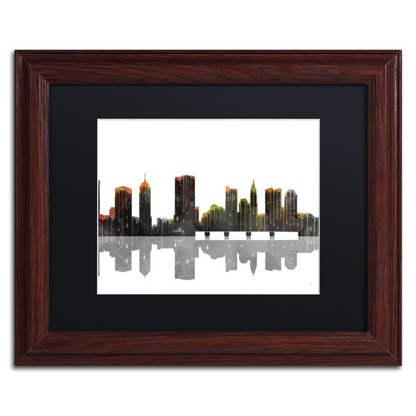 Marlene Watson 'Cleveland Ohio Skyline' Wood Framed Canvas Art
