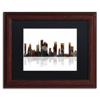 Marlene Watson 'Columbus Ohio Skyline' Wood Framed Canvas Art