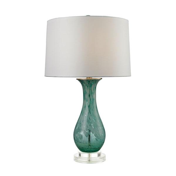 Dimond Swirl Glass Aqua Table Lamp