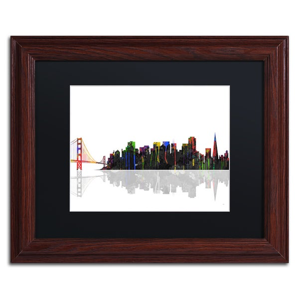Marlene Watson 'Portland Oregon Skyline' Wood Framed Canvas Art