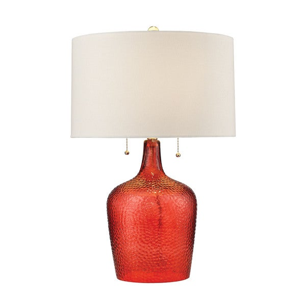 Dimond Hatteras Hammered Glass Blood Orange Table Lamp