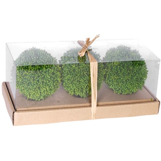Green 3-piece Faux Grass Ball in Box (Set of 2)