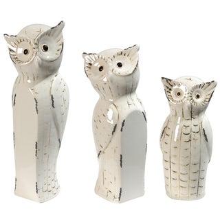 Beige Owl Family Statue (Set of 3)