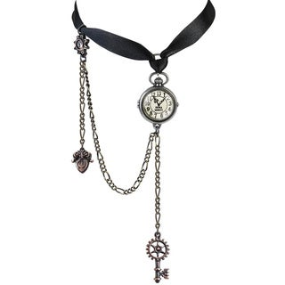 Tri-tone English Pewter with Crystals, Acrylic Glass with a Satin Ribbon Uncle Albert's Timepiece Choker Necklace