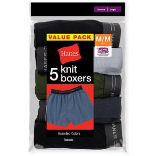 Hanes Boys' Exposed Elastic Knit Boxer