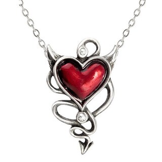 English Pewter with Enamel and Crystal Devil Heart Necklace